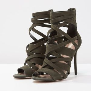 ALDO KELANY Forest Green Suede Leather Sandals